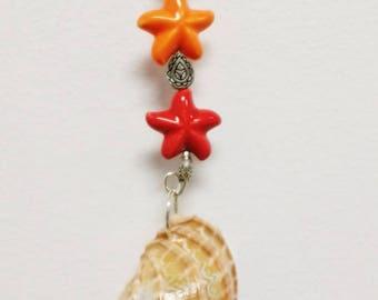 Shell Fan Pull, Light Pull, Ceiling Fan Pull,  Shells, Metal Beads,  Nautical, Home Decor, Coastal Pull, Fan Accessories, Housewarming Gift