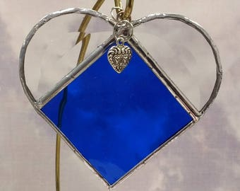 Stained Glass, SEPTEMBER Birthstone, Birthstone Heart, Sapphire, Deep Blue, Stained Glass Suncatcher, Handmade in USA