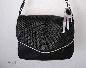 Handbag satchel shoulder strap in black imitation leather