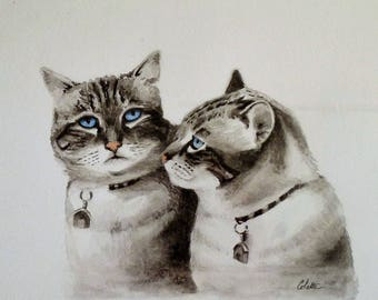 Portrait of a pair of Siamese with watercolor in 21 / 30cm