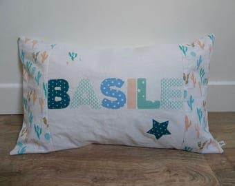 "Pillows with custom ""Basil"""