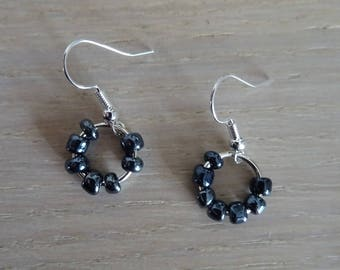 Earrings hoops with Pearl gray