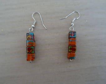 Orange and Red earrings / Bohemian earrings / dangle square earrings / unique