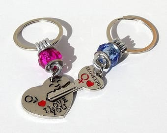 "Keychain featuring a heart and key adorned with a pink and Blue Pearl: ""Les amoureux"" Mod 02"