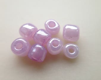 15.8 / Pearl seed beads 4mm glass pink lilac purple Pearl 40gr