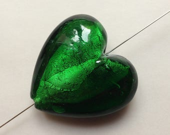 1 / green heart lampwork bead silver glass handcrafted clear 35mm