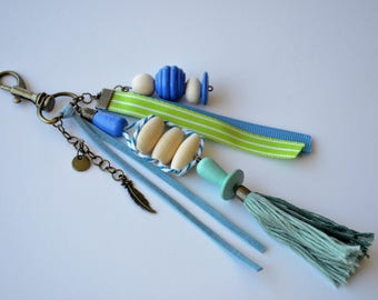 Keychain, bag charm, green and blue, wood beads