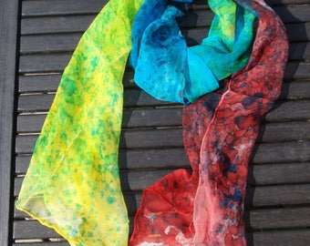 Scarf silk chiffon, multicolored speckled, handmade, handpainted, OOAK