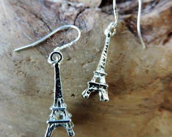 Earrings, silver, Eiffel Tower 3D charm, Paris France, landmark, travel, Sterling Silver bail.