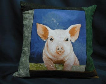 """Square Cushion cover, """"farm animals"""" collection, pig (C355C)"""