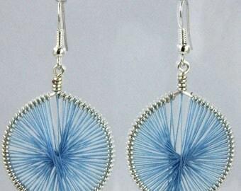 Light blue wire woven earrings