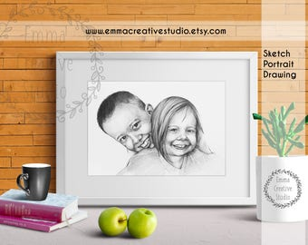 Custom Child Portrait Drawing, Kids Sketch, Custom Portrait From photo,Portrait drawing Art from picture gift