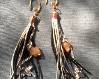 EARRINGS FRINGE AND MOTHER OF PEARL