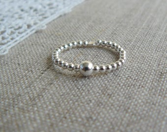elastic ring sterling silver beads