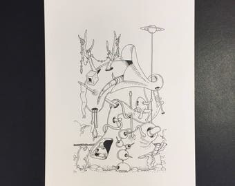 Original surreal illustration in black ink