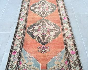 Turkish rug runner rug pastel rug vintage rug oushak rug 10.9ft_3.3ft