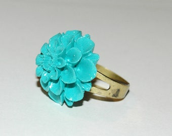 Resin - version of turquoise blue Dahlia flower ring