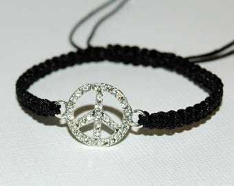 Macrame bracelet black wire and Peace charm with Rhinestones multitude