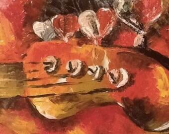 Original Bass Guitar Oil Painting