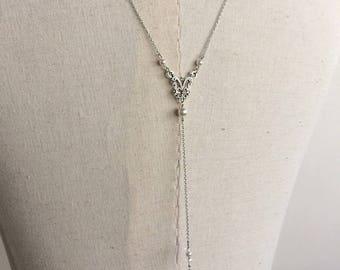 """Back """"Lilac"""" with swarovski pearls wedding jewelry necklace"""