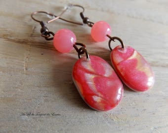 Pendant Earrings Pink and Red