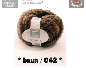 Giant ball of wool fleece from white horse, brown color (042)
