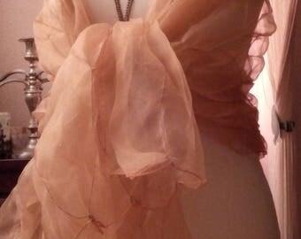Peach color silk organza shawl