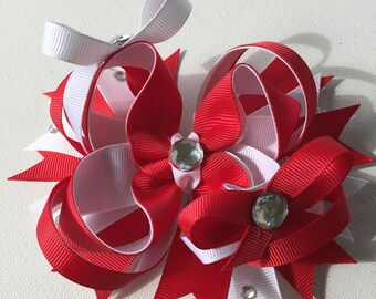 Red and white hair bow   two color hair bow   boutique bow   stacked hair bow   rhinestone hair bow   hair accessories   girls hair bow
