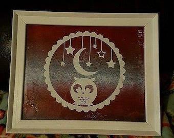Owl, moon & stars papercut