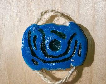 Essential Oil Pendant, Ceramic Pendant, Deep Blue Sea Design