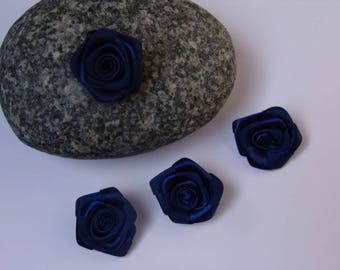 Navy Blue rose satin - 2.50 cm in diameter