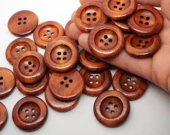Large Dark Wooden Concave Round 4 hole Buttons 25mm