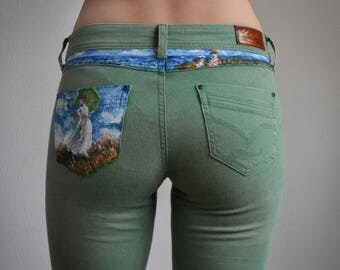 Green Monet  Jeans, skinny ,unique ,Hand painted
