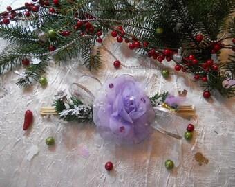 Christmas table centerpiece big flower white/purple gold