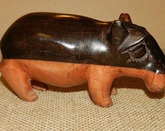 Hippopotamus sculpture Brown and black ebony for home decor and nursery