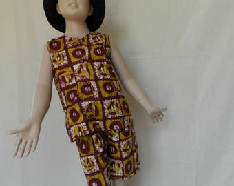 Set color transferware top tank top and her shorts for girl and boy in African fabric