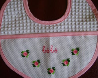 bib embroidered flowers