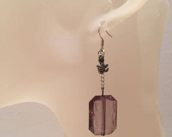 Fish charm Brown Pearl Earrings