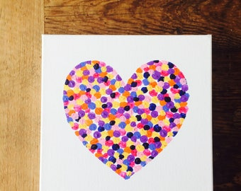 Heart canvas Painting, interior art Spots Citrus Pinks and Blue (original artwork) *GIFT WRAPPING AVAILABLE *