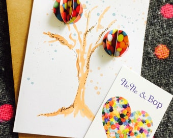 Personalised Family and friends tree, watercolour painting with 3D handmade decorative orbs greetings card.