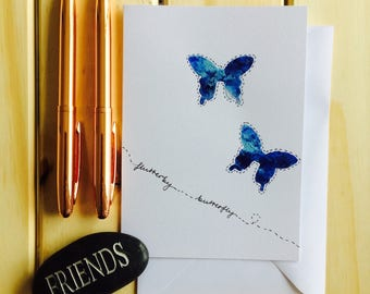 Friendship butterfly notecard hand painted original