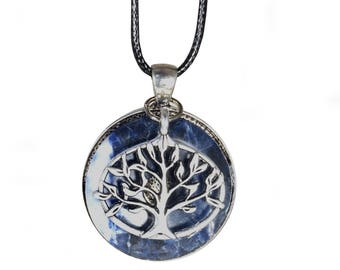 Tree of life pendant necklace - Sodalite minerals