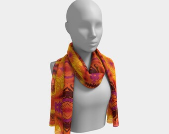 "Beautiful Scarf, Head Scarf, ""Citrus Lava, Made to order"""