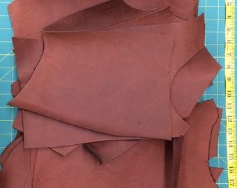 Leather - Scrap Leather - Rust Color NuBuc Leather - 5 pounds