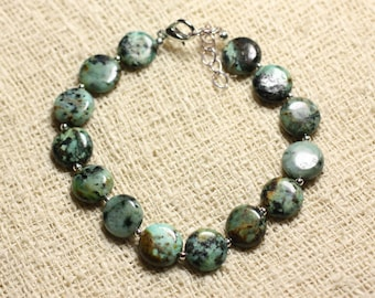 925 sterling silver and semi precious - beads 10mm African Turquoise bracelet