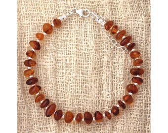 Genuine Baltic amber and 925 sterling silver bracelet