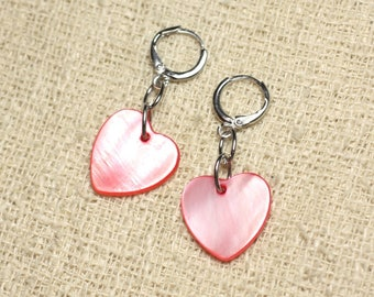 Earrings Pearl 18mm red Pink Hearts