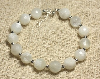 Bracelet 925 sterling silver and 9mm faceted white Moonstone