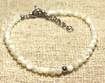 Bracelet 925 sterling silver and 3mm iridescent white mother of pearl beads