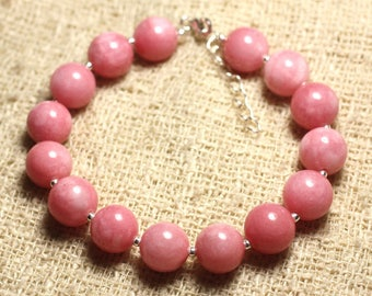 Bracelet 925 sterling silver and stone - 10mm pink Jade